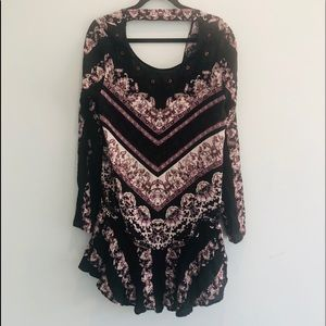 Free People Black Floral Long Sleeve Tunic